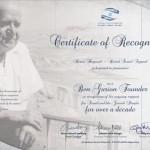 Certificato Ben Gurion per 10 anni di sostegno ad Israele