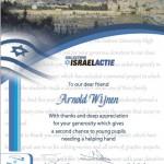 Certificato per donazione al programma di aiuto ai giovani