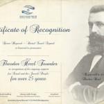 Certificato Theodor Herzl per 25 anni di sostegno ad Israele