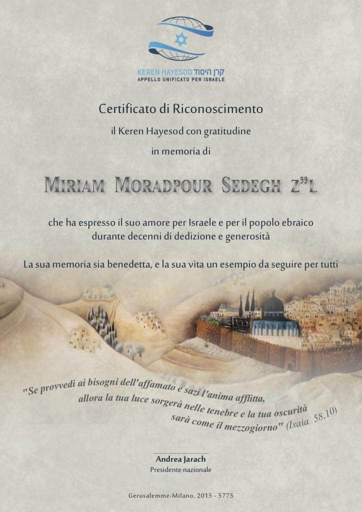 Certificato di riconoscimento Miriam Moradpour Sedegh